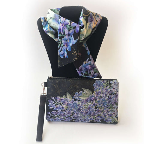 2 Piece Gift Set Vegan Leather Clutch and Scarf - Lilacs on Black