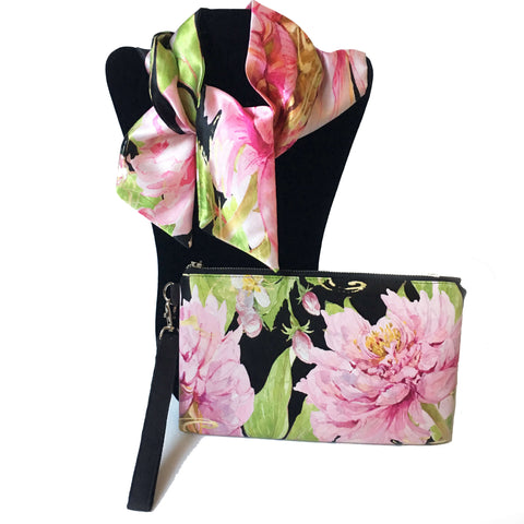 2 Piece Gift Set Vegan Leather Clutch and Scarf - Magenta Watercolor Peony - UndertheLeafDesigns.com