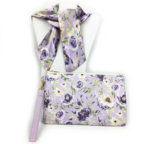 2 Piece Gift Set Vegan Leather Clutch and Scarf - Mixed Watercolor Floral on lavender - UndertheLeafDesigns.com