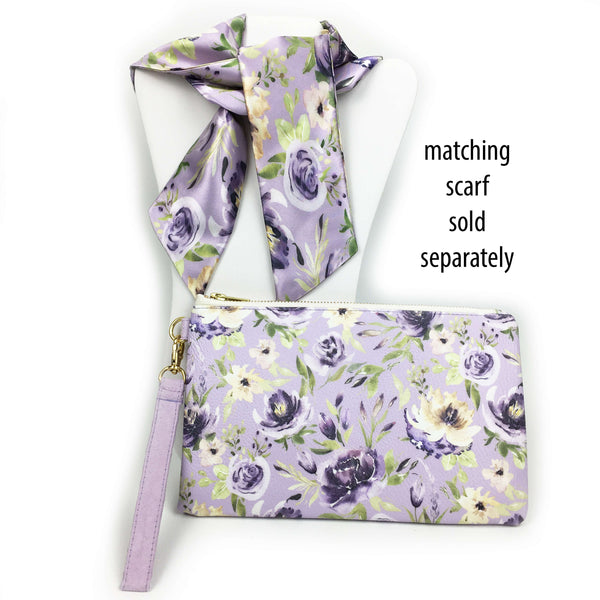 Watercolor mixed floral on lavender wristlet - vegan leather/suede