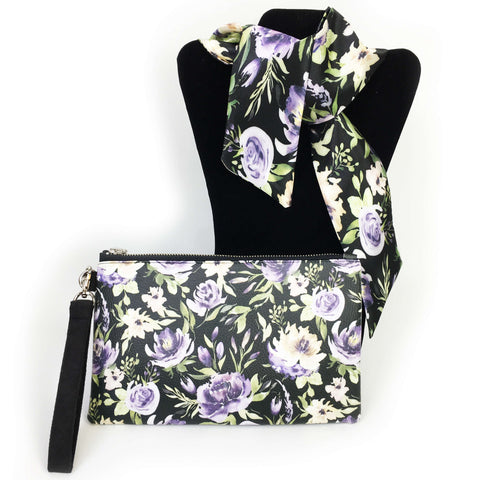 2 Piece Gift Set Vegan Leather Clutch and Scarf - Mixed Watercolor Floral on black