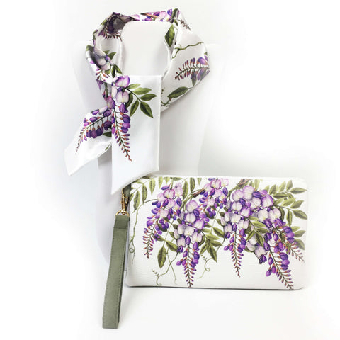 2 Piece Gift Set Vegan Leather Clutch and Scarf - Wisteria on white - UndertheLeafDesigns.com