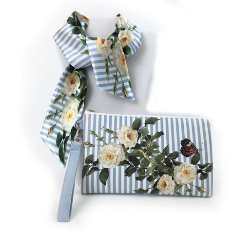 2 Piece Gift Set Vegan Leather Clutch and Scarf - blue and white stripe with white rose - UndertheLeafDesigns.com