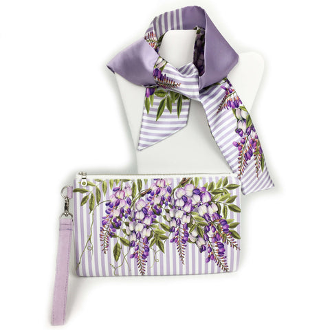 2 Piece Gift Set Vegan Leather Clutch and Scarf - Wisteria Lavender Stripe - UndertheLeafDesigns.com