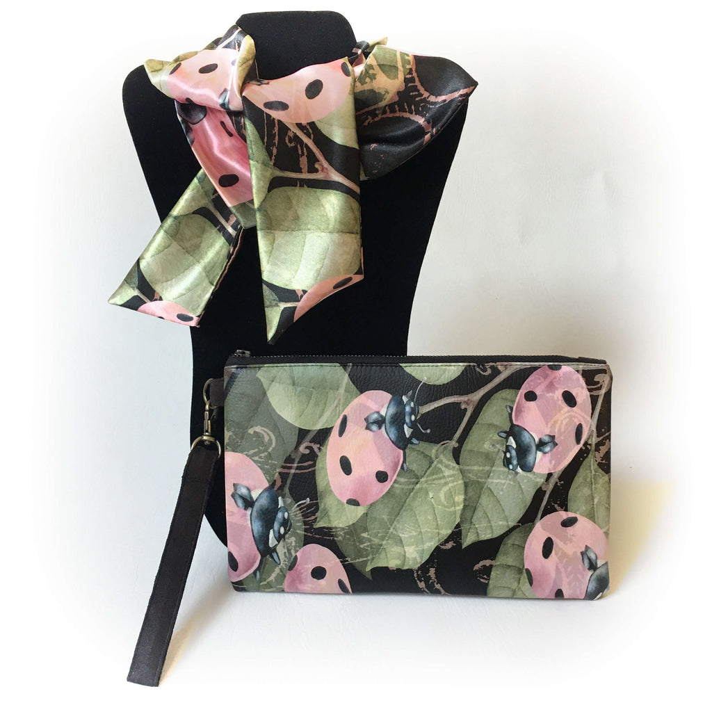 2 Piece Vegan Leather Clutch and Scarf Gift Set - Lady Bugs - UndertheLeafDesigns.com