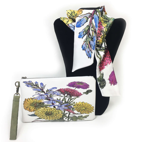 2 Piece Gift Set Vegan Leather Clutch and Scarf - Mum Floral - UndertheLeafDesigns.com