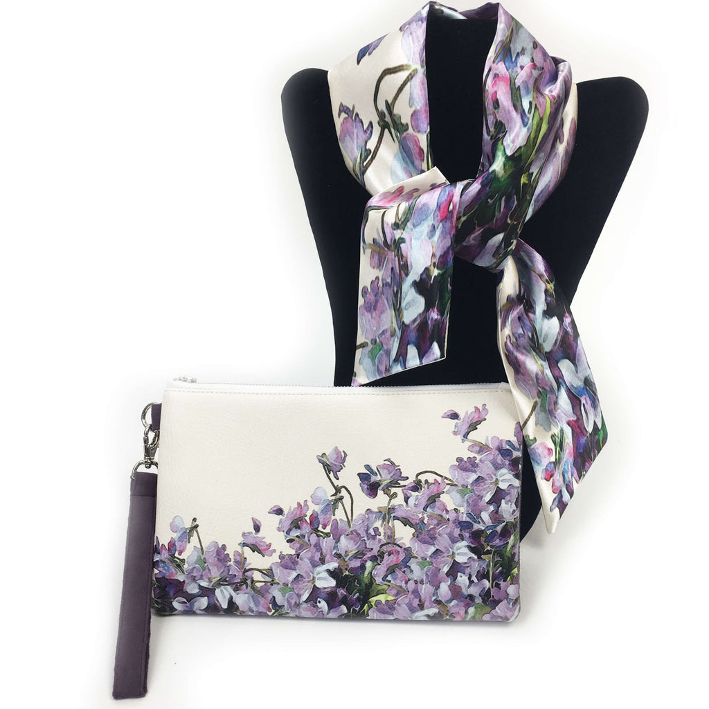 2 Piece Gift Set Vegan Leather Clutch and Scarf - Violets - UndertheLeafDesigns.com