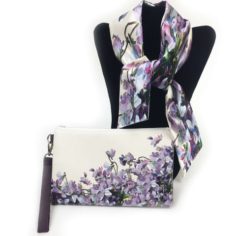 2 Piece Gift Set Vegan Leather Clutch and Scarf - Violets