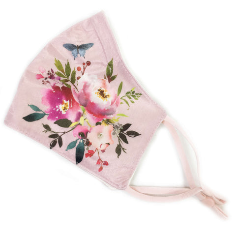 Water Color Bouquet - Triple Layer Velvet Satin Modal Knit Lined Face Cover - non-medical mask