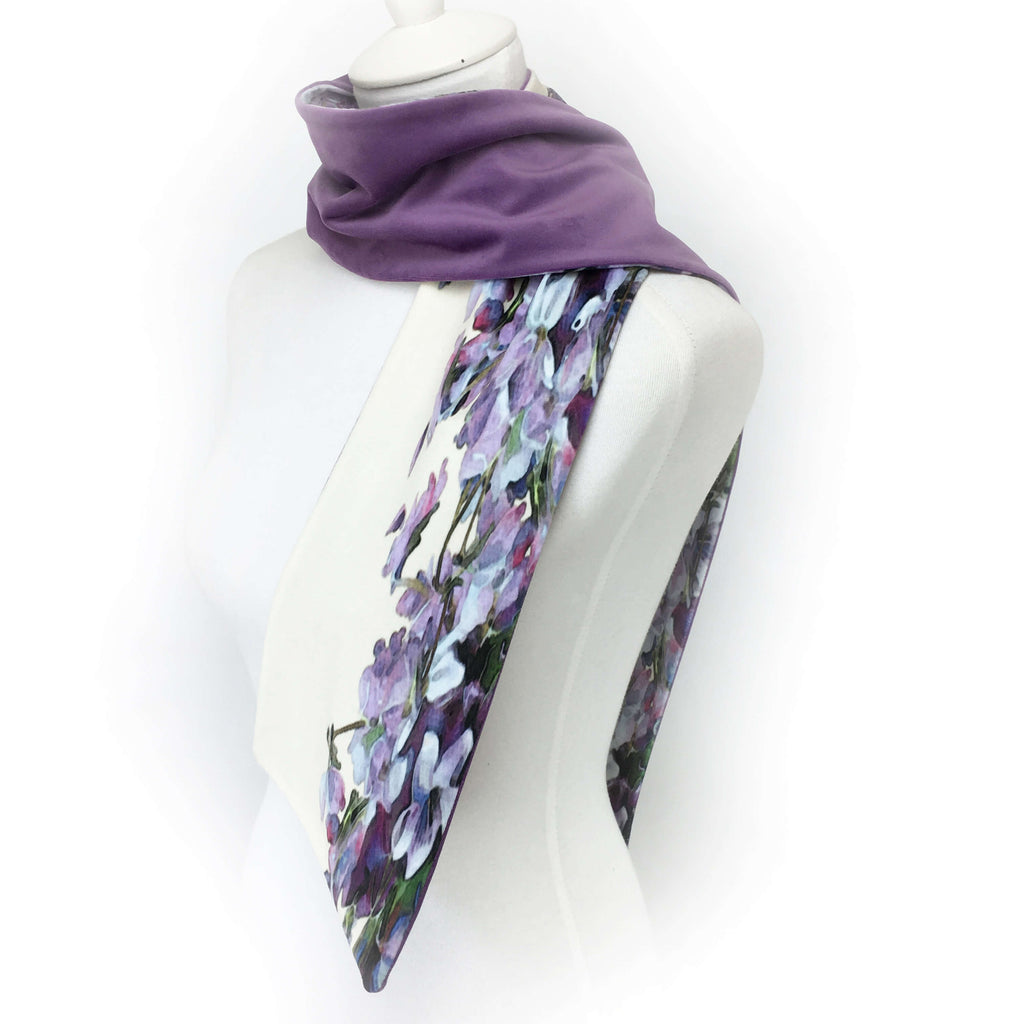 Violets and lavender hand painted velvet scarf - UndertheLeafDesigns.com