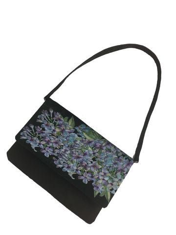 Lilacs on black 3 in 1 bag - clutch/shoulder/crossbody