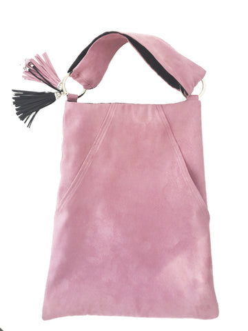 Chic PinkPetal and Black All Season Large Reversible Vegan Suede Handbag/Tote - UndertheLeafDesigns.com
