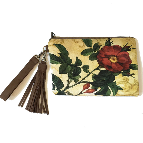 Burgundy Rose Velvet and Chocolate Vegan Suede Clutch/Wristlet
