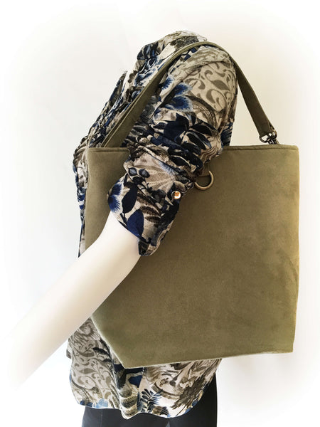 Sage Green Luxe Vegan Suede 5 Pocket Tote/ShoulderBag - UndertheLeafDesigns.com
