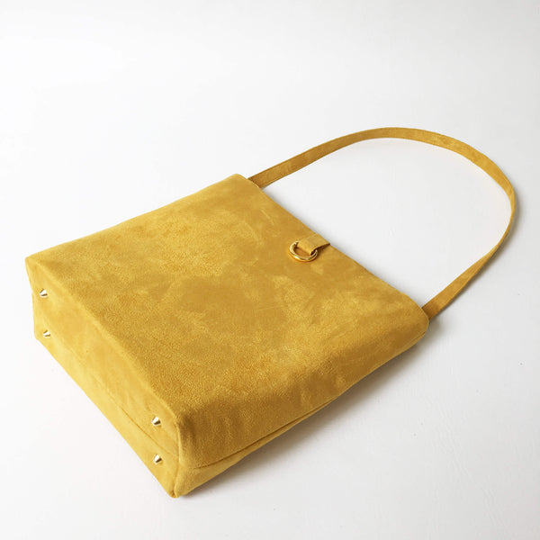 Curry Mustard Luxe Vegan Suede Midsize Tote/ShoulderBag