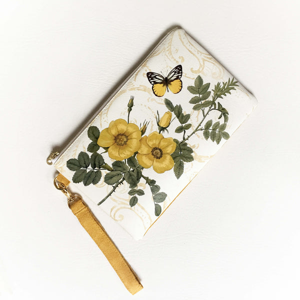 Wild yellow rose wristlet - vegan leather/suede - UndertheLeafDesigns.com