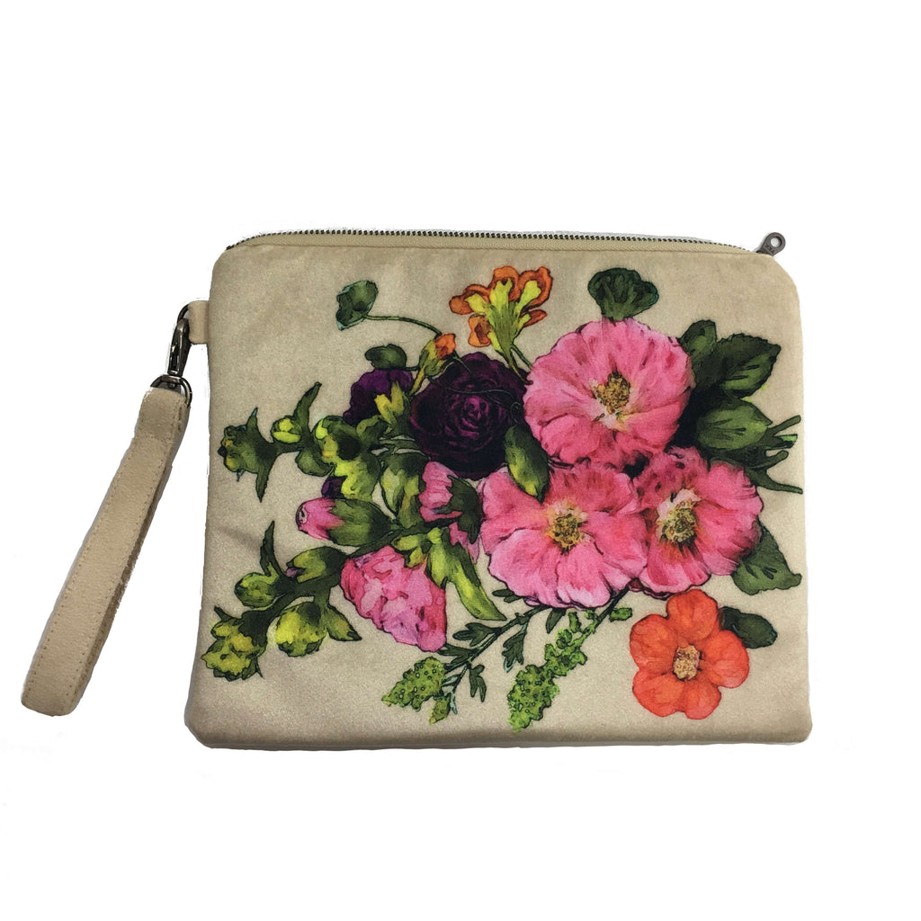 PinkFloral Cream Velvet and Vegan Suede Clutch/Wristlet
