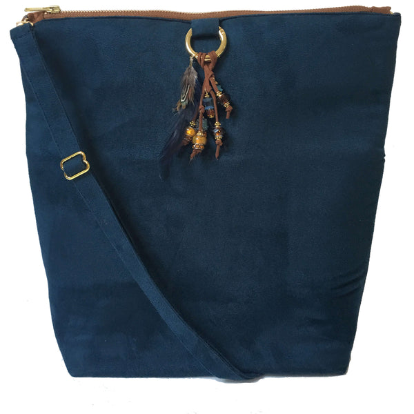 Navy and Copper Vegan Suede Beaded Bag Convertible Tote/ShoulderBag/Crossbody/Clutch