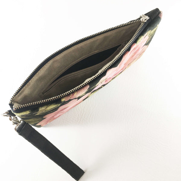 Scroll Rose Wristlet - Vegan Suede/Velvet - UndertheLeafDesigns.com