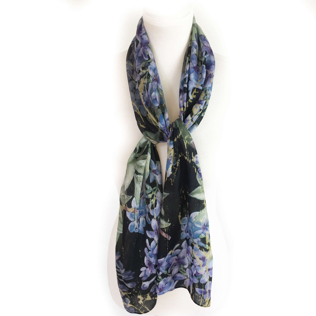 Lilacs on Black Scarf - Natural Linen Look - UndertheLeafDesigns.com