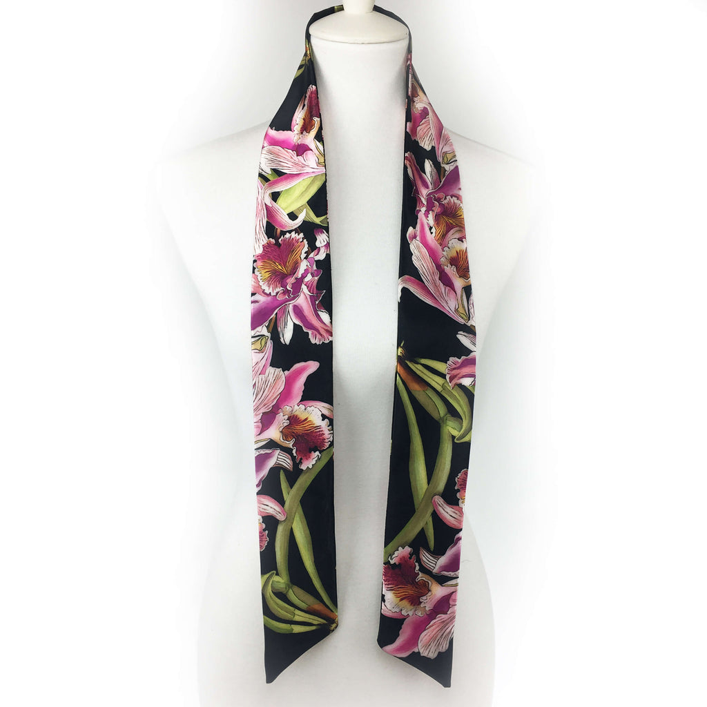 Orchids Skinny Scarf Black - UndertheLeafDesigns.com