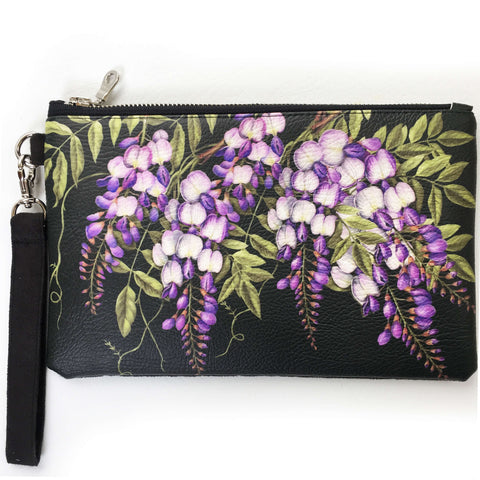 Wisteria on black wristlet - vegan leather/suede