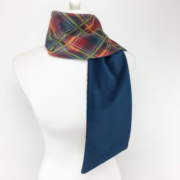 Red and Navy Plaid Scarf Velvet - UndertheLeafDesigns.com