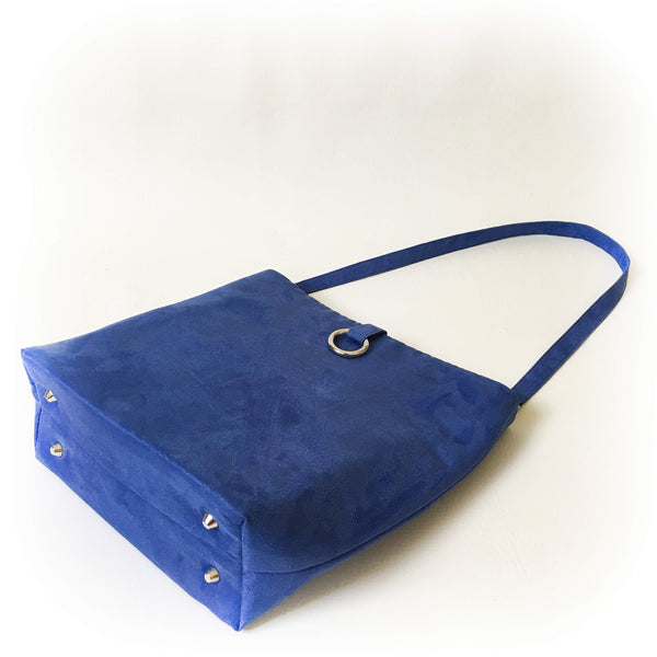 Lapis Blue Luxe Vegan Suede 5 Pocket Tote/ShoulderBag - UndertheLeafDesigns.com