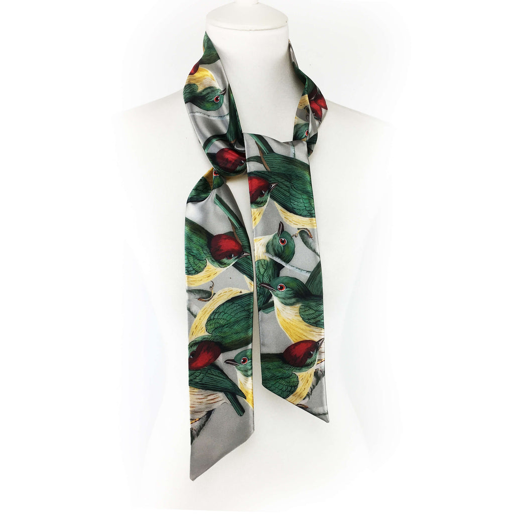 Red Cap Birds skinny scarf - UndertheLeafDesigns.com