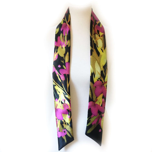 Abstract Leaf Skinny Scarf in Bright Purple - UndertheLeafDesigns.com