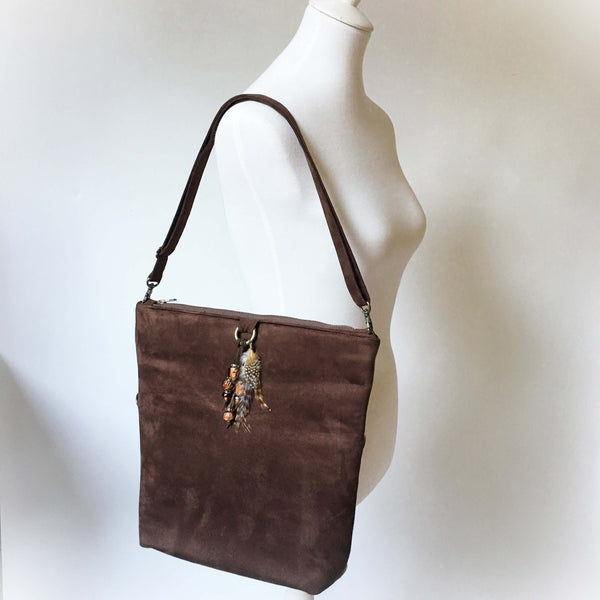 Chocolate and Taupe Vegan Suede Beaded Bag Convertible Tote/ShoulderBag/Crossbody/Clutch - UndertheLeafDesigns.com