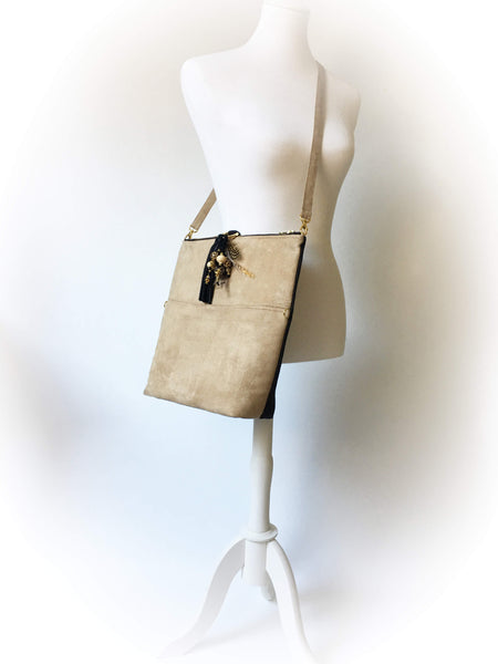 Camel and Black Vegan Suede Beaded Bag Convertible Tote/ShoulderBag/Crossbody/Clutch - UndertheLeafDesigns.com