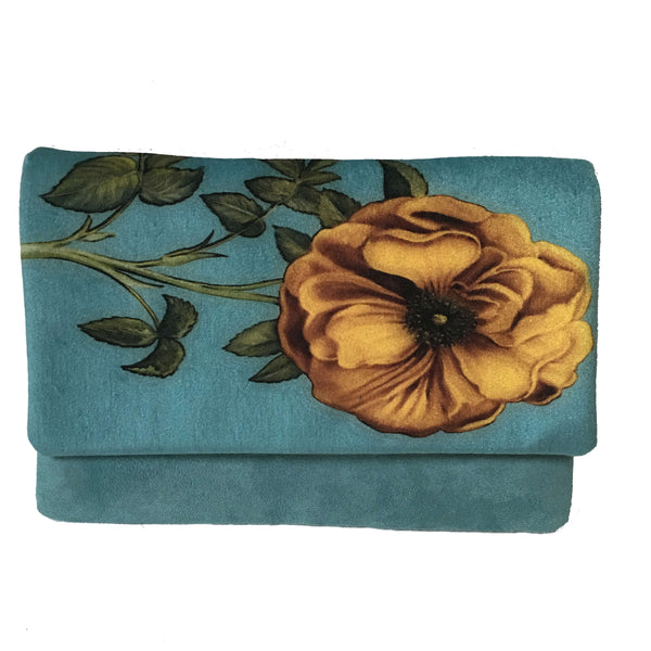 Vintage yellow rose velvet and vegan suede clutch