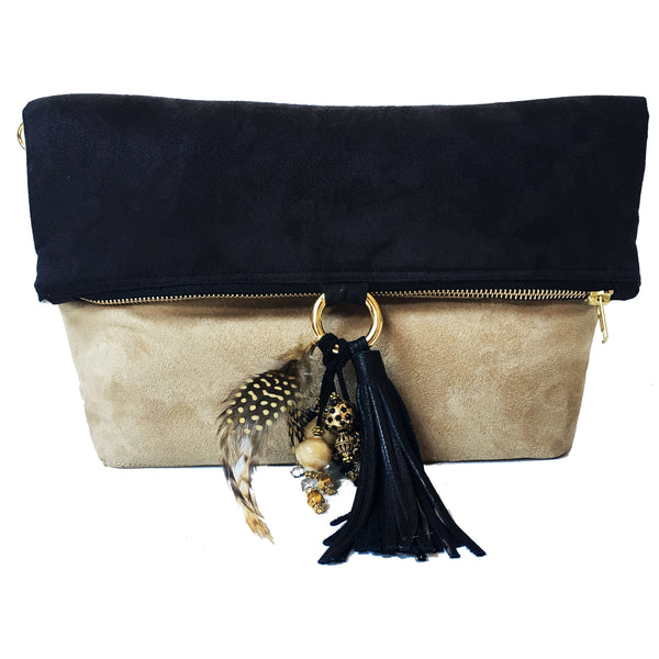 Camel and Black Vegan Suede Beaded Bag Convertible Tote/ShoulderBag/Crossbody/Clutch