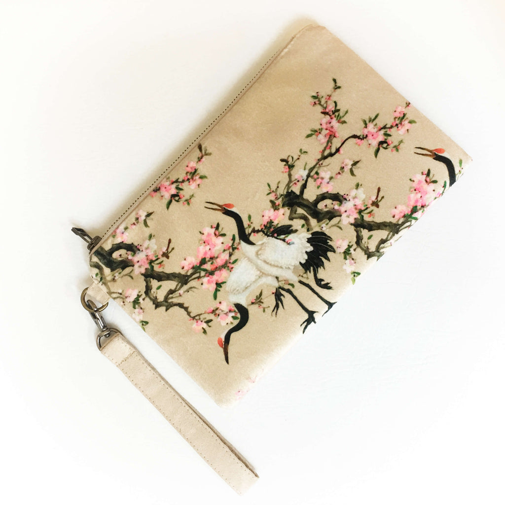 Crane and apple blossom velvet and vegan suede clutch/wristlet - UndertheLeafDesigns.com