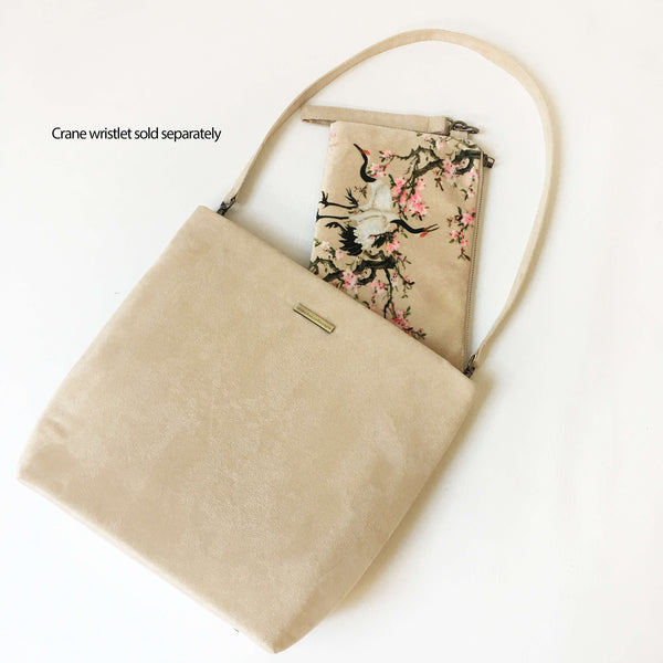 Parchment Luxe Vegan Suede 5 Pocket Tote/ShoulderBag - UndertheLeafDesigns.com