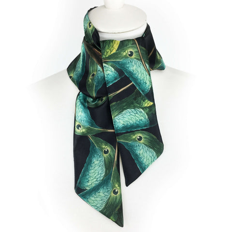 Hummingbirds on black artisan scarf - modern size