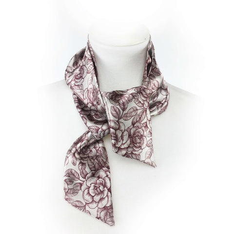 Woodblock Floral Wine Skinny Scarf - UndertheLeafDesigns.com