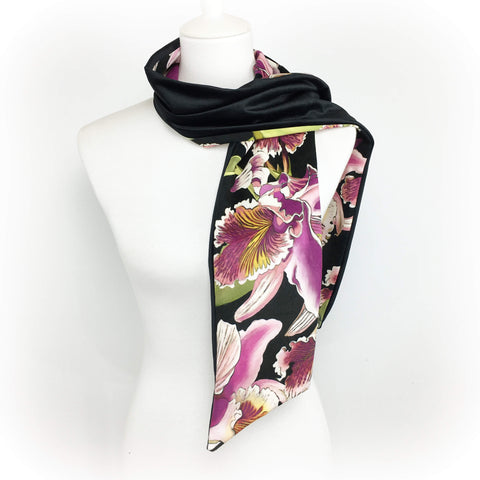 Orchid hand painted velvet scarf