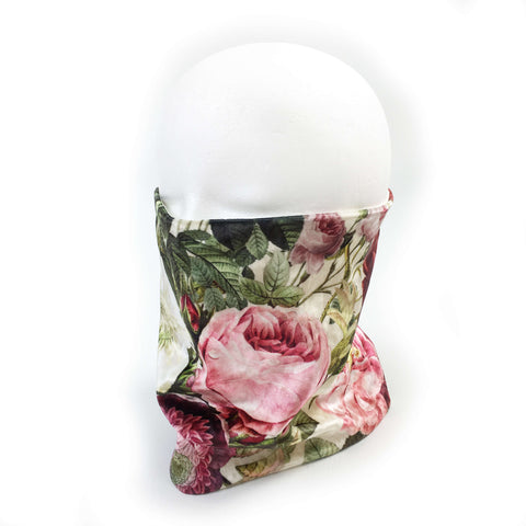 Garden Floral Cream Velour and Modal Neck Scarf/FaceCover/Facemask/Headband/HatBand/ - All season