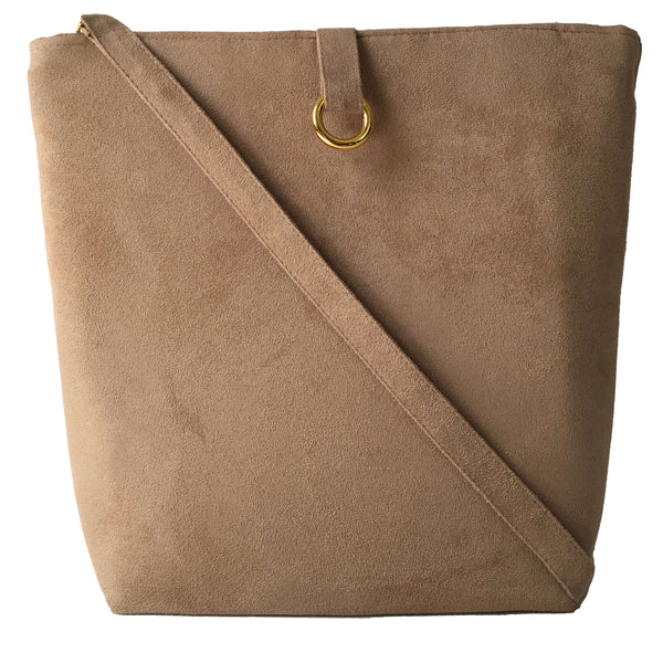 Taupe Luxe Vegan Suede 5 Pocket Tote/ShoulderBag - UndertheLeafDesigns.com
