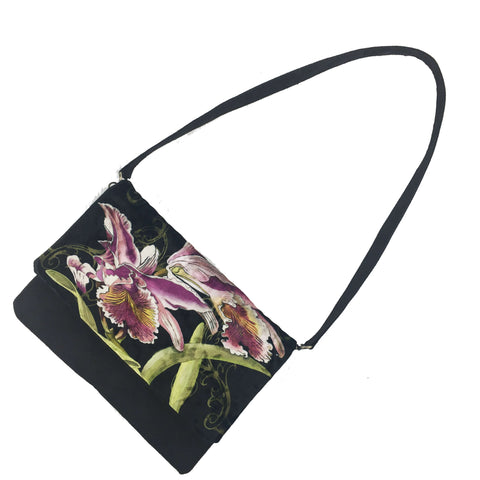 Orchid on Black 3 in 1 bag - clutch/shoulder/crossbody
