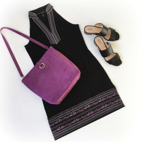 Bright Purple Luxe Vegan Suede 5 Pocket Tote/ShoulderBag - UndertheLeafDesigns.com