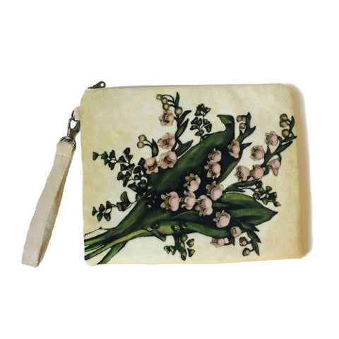 Lily of the Valley on Cream Velvet and Vegan Suede Clutch/Wristlet