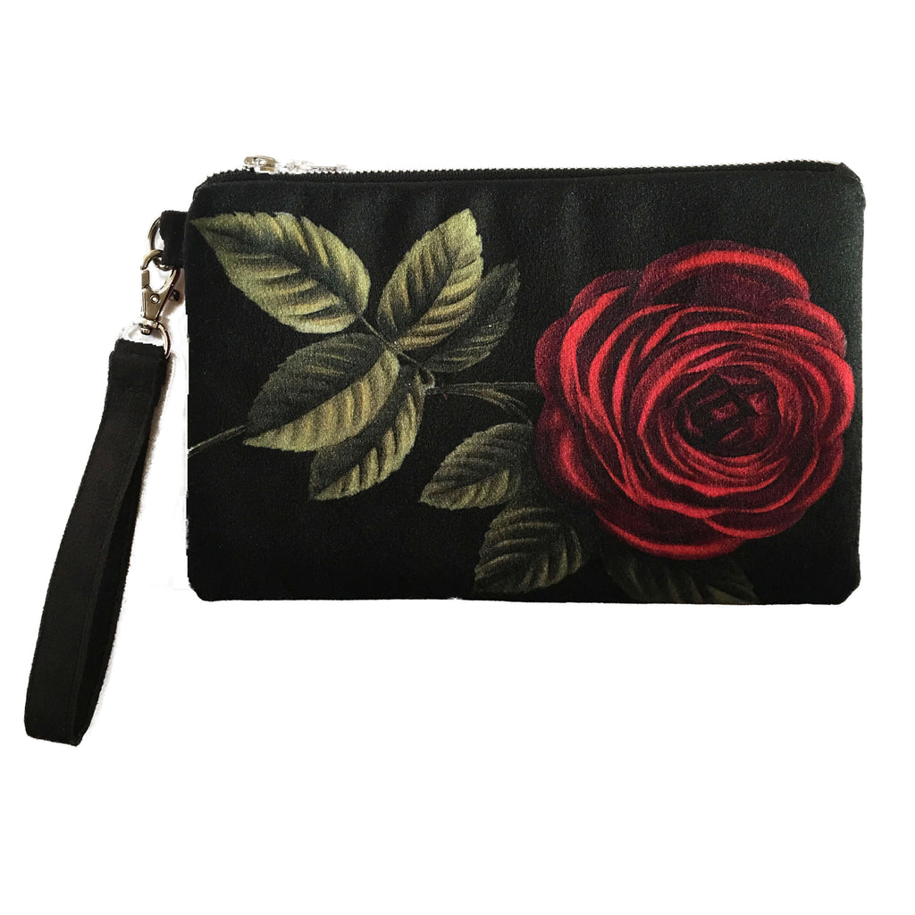 Stem Rose Velvet and Vegan Suede Clutch/Wristlet - UndertheLeafDesigns.com