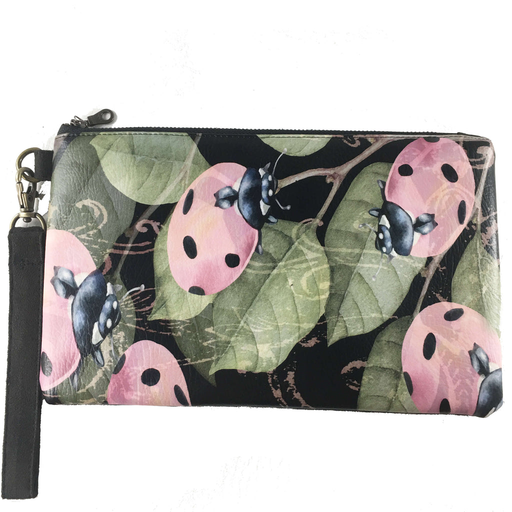 LadyBug vegan leather and vegan suede clutch/wristlet - UndertheLeafDesigns.com