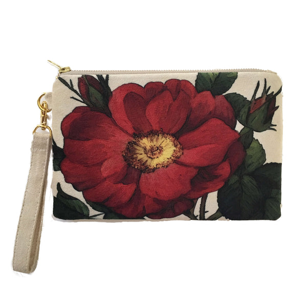 Rosabella Pattern on Cream Vegan Suede Clutch/Wristlet