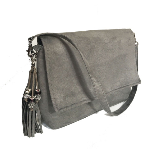Gray vegan suede convertible clutch/ shoulder bag with large tassel and beads - UndertheLeafDesigns.com