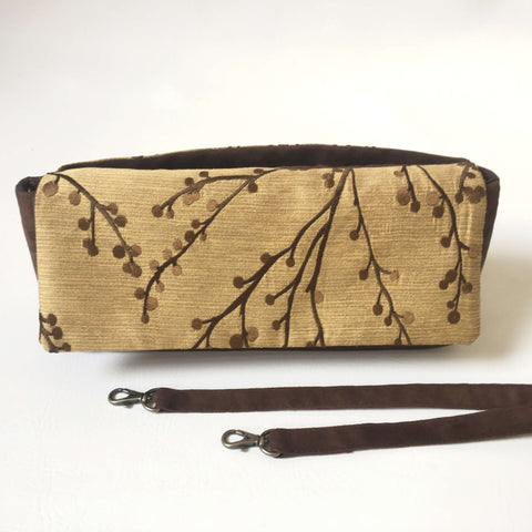 Embroidered Golden Flax and Chocolate Brown Clutch/Shoulder Bag