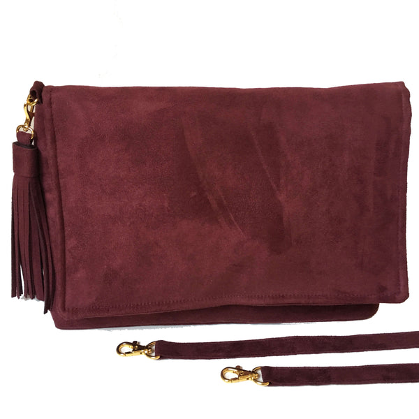 Burgundy Vegan Suede convertible clutch/ shoulder bag with large tassel - UndertheLeafDesigns.com